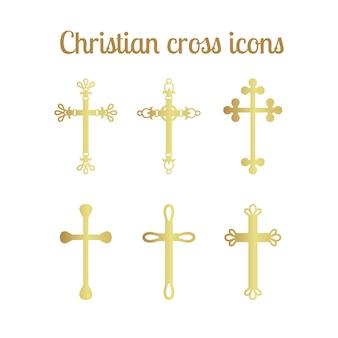 Ensemble d'icônes croix dorée