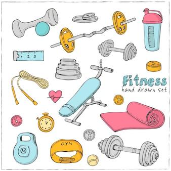 Ensemble d'icônes de croquis de régime et de soins de santé fitness musculation