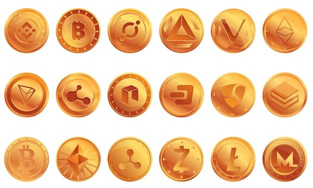 Ensemble d'icônes de crypto-monnaie. ensemble de dessin animé d'icônes de crypto-monnaie
