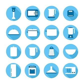 Ensemble d'icônes de cuisine appareils et outils symbole signe dans un style plat