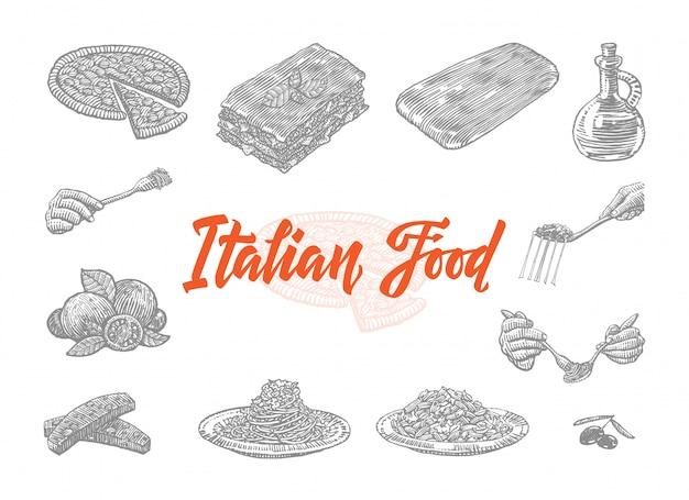 Ensemble d'icônes de cuisine italienne dessinés à la main