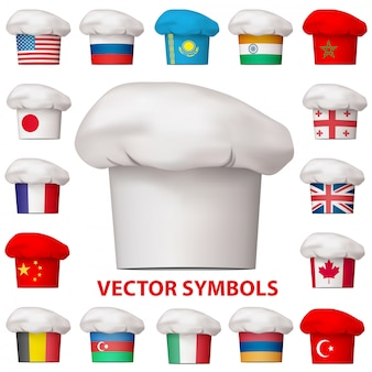 Ensemble d'icônes de cuisine nationale.