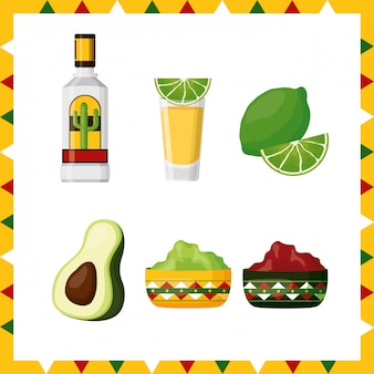 Ensemble d'icônes de la culture mexicaine, avocat, citron, tequila et guacamole, illustration