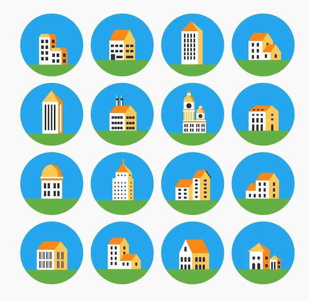 Un ensemble d'icônes dans des maisons et des bâtiments de style urbain et plat