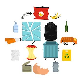 Ensemble d'icônes de déchets et ordures, style plat