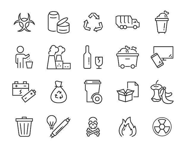 Ensemble d'icônes de déchets, tels que déchets, pollution, sale, poubelle, industrie