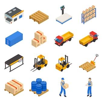 Ensemble d'icônes décoratif isométrique d'entrepôt