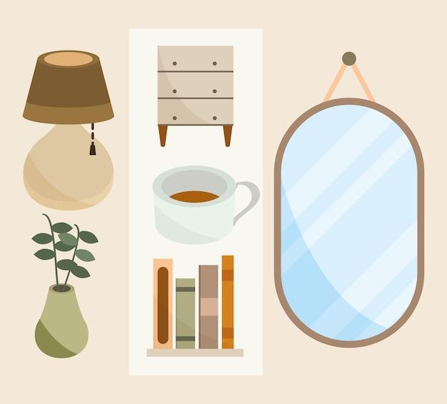 Ensemble d'icônes de décoration à la maison