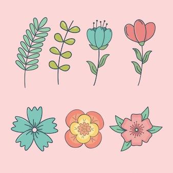 Ensemble d'icônes décoratives de fleurs