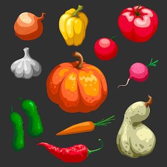 Ensemble d & # 39; icônes décoratives de légumes agriculteurs