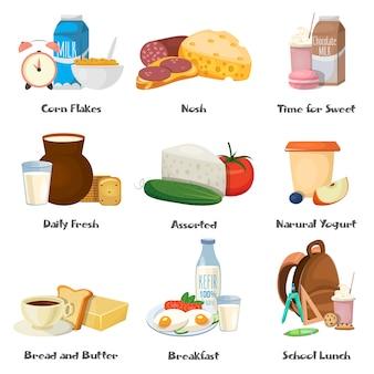 Ensemble d'icônes décoratives de nourriture de lait