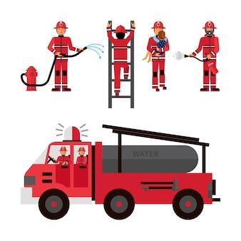 Ensemble d'icônes décoratives de pompier