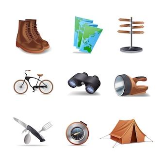 Ensemble d'icônes décoratives réalistes de randonnée
