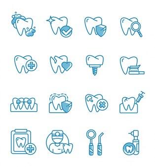 Ensemble d'icônes dentaires avec style de contour.