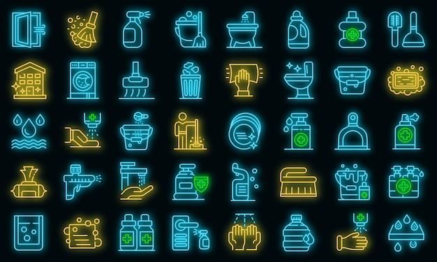 Ensemble d'icônes de désinfection. ensemble de contour d'icônes vectorielles de désinfection couleur néon sur fond noir