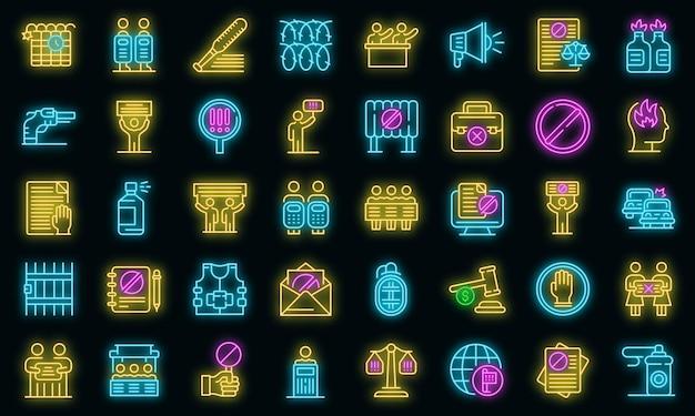 Ensemble d'icônes désobéissants. ensemble de contour d'icônes vectorielles désobéissantes couleur néon sur fond noir