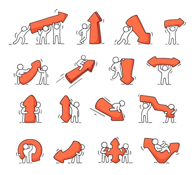 Ensemble d'icônes de dessin animé de croquis travaillant de petites personnes avec des flèches.
