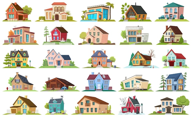 Ensemble d'icônes de dessin animé maison appartement.