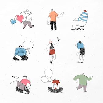 Ensemble d'icônes de dessin animé mignon affaires colorées