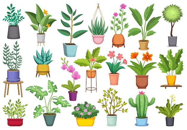 Ensemble d'icônes de dessin animé de pot de fleurs.