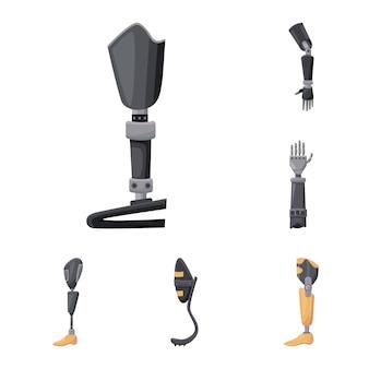 Ensemble d'icônes de dessin animé de vecteur prothétique. équipement de clinique d'illustration isolé vecteur. ensemble d'icônes d'équipement prothétique.