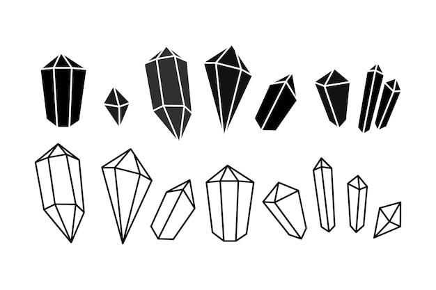 Ensemble d'icônes dessinées à la main de la silhouette de la gemme en cristal dans le style doodle symbole géométrique mystique