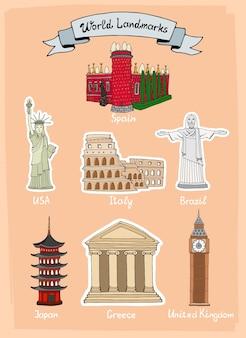 Ensemble d'icônes dessinés à la main de monuments du monde