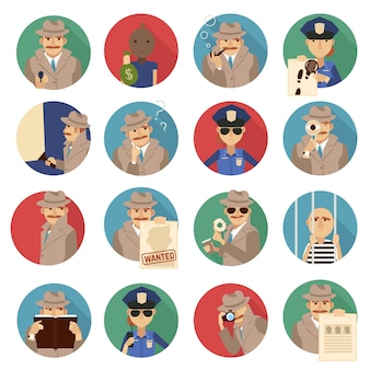 Ensemble d'icônes de détective privé