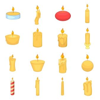 Ensemble d'icônes différentes bougies