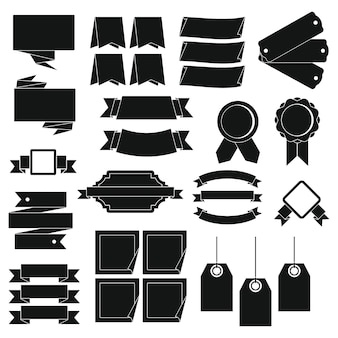 Ensemble d'icônes différentes étiquettes colorées, style simple