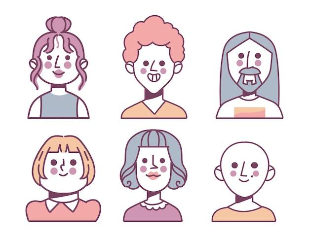 Ensemble d'icônes de différents profils dessinés à la main