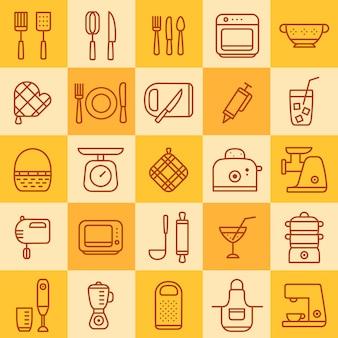 Ensemble d'icônes de différents types de batterie de cuisine