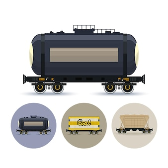 Ensemble d'icônes de différents types de wagons de marchandises