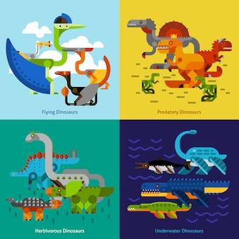 Ensemble d'icônes de dinosaure