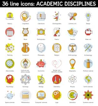 Ensemble d'icônes de disciplines académiques