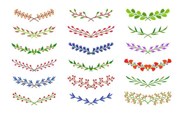 Ensemble d'icônes de diviseur de feuillage floral. branches semi-circulaires laurier, branche avec fleur