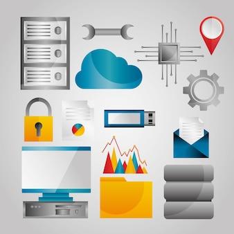 Ensemble d'icônes de données de base de données d'analyse de données de données