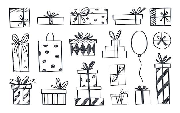 Ensemble d'icônes de doodle de boîte-cadeau et cadeaux