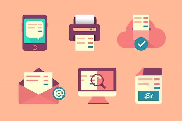 Ensemble d'icônes du design plat pour les entreprises