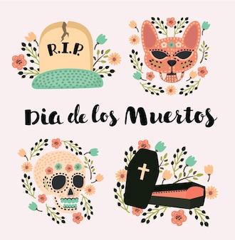 Ensemble d'icônes du jour des morts, une fête traditionnelle au mexique