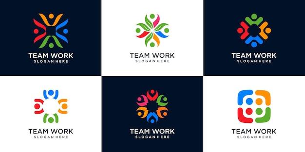 Ensemble d'icônes du logo de la communauté symbole du travail d'équipe, du concept humain de solidarité et des gens d'affaires ensemble. logo d'illustration vectorielle, forum de discussion