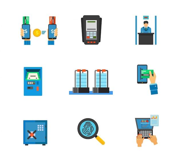 Ensemble d'icônes du service bancaire