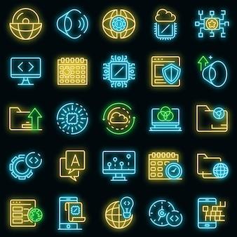 Ensemble d'icônes du système d'exploitation. ensemble de contour d'icônes vectorielles du système d'exploitation couleur néon sur fond noir
