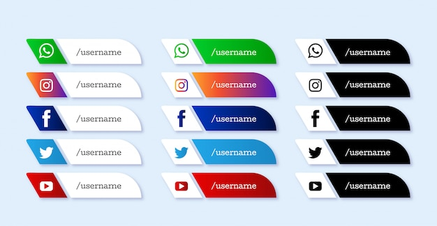 Ensemble d'icônes du tiers inférieur des médias sociaux modernes