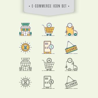 Ensemble d'icônes d'e-commerce