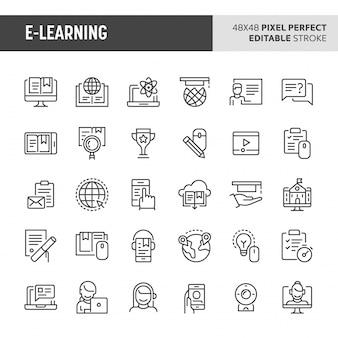 Ensemble d'icônes e-learning