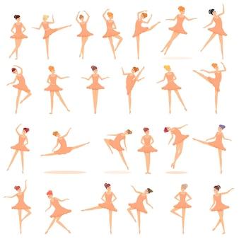 Ensemble d'icônes d'école de ballet. ensemble de dessins animés d'icônes vectorielles d'école de ballet pour la conception de sites web