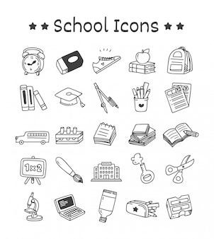 Ensemble d'icônes de l'école dans un style doodle