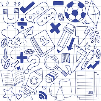 Ensemble d'icônes d'école dessiné à la main motif de fond d'ornements