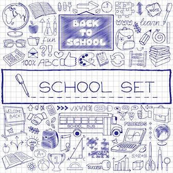 Ensemble d'icônes d'école dessinés à la main